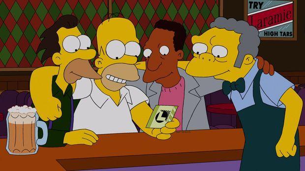200.000 Dollar! Homer (2.v.l.), Moe (r.), Carl (2.v.r.) und Lenny (l.) können...