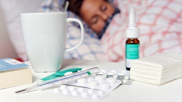 Gestelle Szene einer Frau mit Grippe