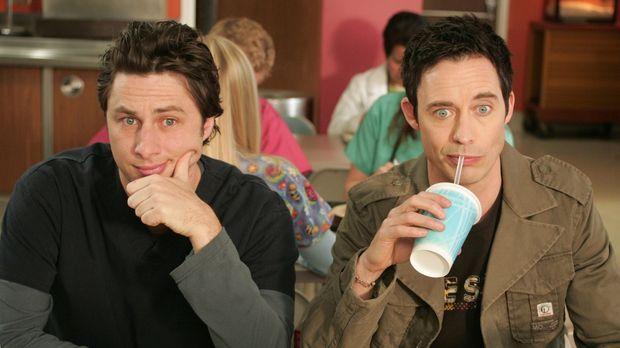 J.D. (Zach Braff, l.) bekommt überraschend Besuch von seinem Bruder Dan (Tom...