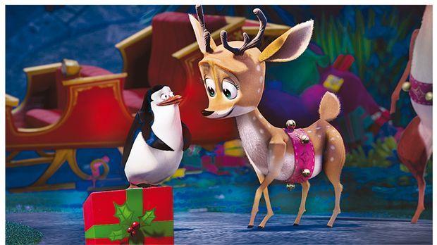 Kann der Pinguin (l.) das Rentier (r.) davon überzeugen, die Geschenke doch n...