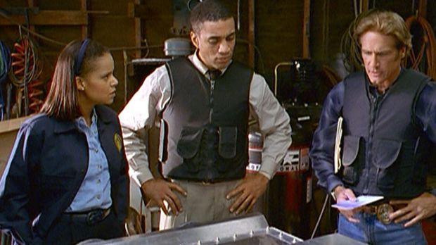 Amanda (Victoria Rowell, l.), FBI-Agent Wagner (Harry J. Lennix, M.) und Stev...