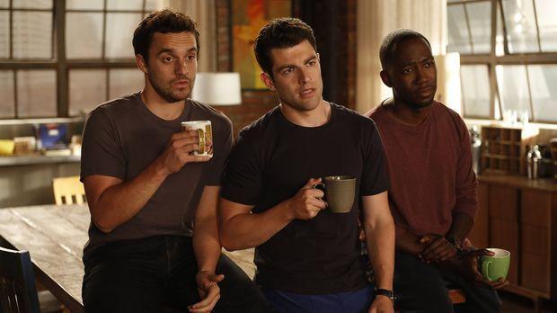 Nick (Jake Johnson, l.), Schmidt (Max Greenfield, M.) und Winston (Lamorne Mo...