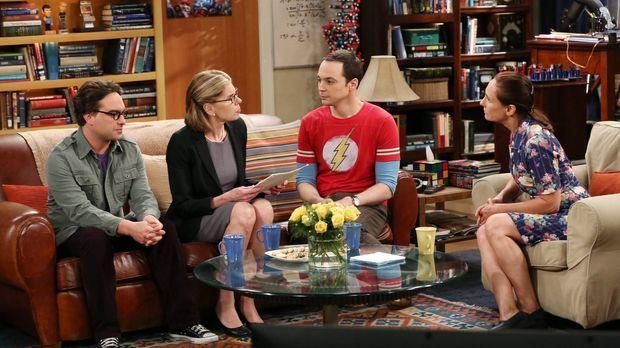Nur für Sheldon (Jim Parsons, 2.v.r.) ist das Treffen seiner Mutter Mary (Lau...