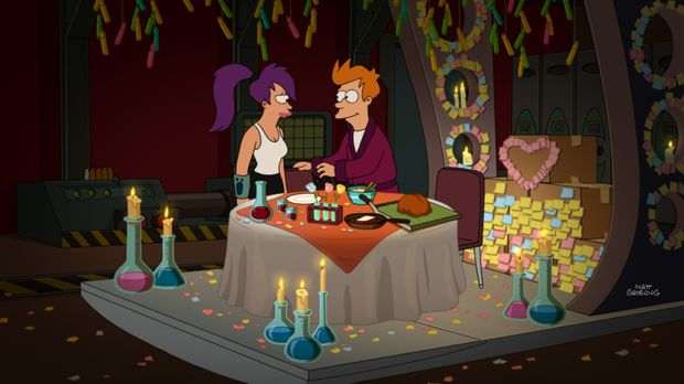 Um endlich mal Zeit für sich zu haben, reisen Fry (r.) und Leela (l.) in ein...