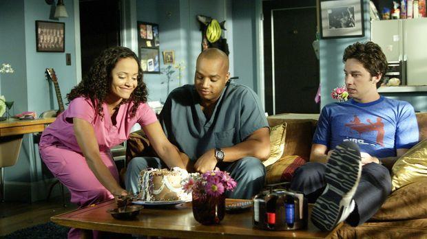 Versuchen ihre Probleme zu bewältigen: J.D. (Zach Braff, r.), Carla (Judy Rey...