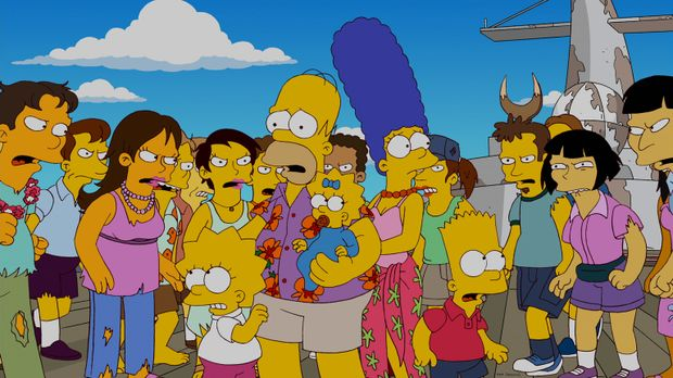 Ein Familienurlaub der besonderen Art: Homer (vorne 2.v.l.), Marge (vorne 2.v...