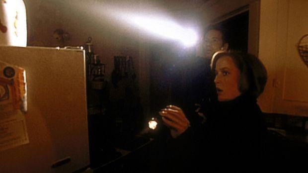 Mulder (David Duchovny, l.) und Scully (Gillian Anderson, r.) durchsuchen ein...