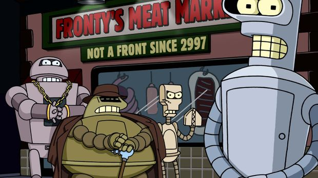 Glücklicherweise kann Bender (r.) den Chef der Roboter-Mafia, Don Bot (2.v.l....