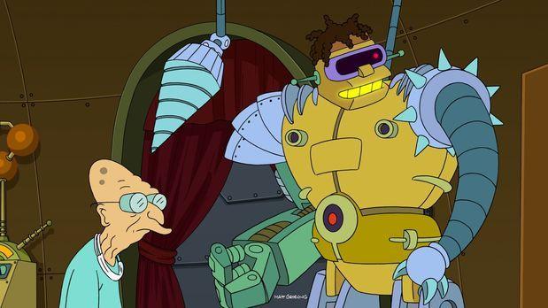 Futurama - Hermes (r.) hat nach und nach maschinelle Teile in seinen Körper e...