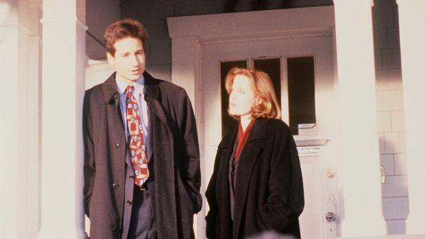 Mulder (David Duchovny, l.) und Scully (Gillian Anderson, r.) untersuchen ein...