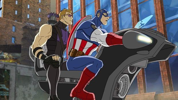 Müssen die Asgardische Streitaxt wiederfinden: Hawkeye (l.) und Captain Ameri...