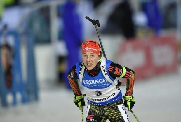 Laura Dahlmeier trägt im Sprint das gelbe Trikot