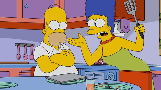 Bei dem Versuch eine Reparatur in der der Küche durchzuführen, macht Homer (l...