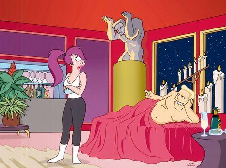 Futurama - Leela (l.), Fry und Bender bekommen die Order, Tiere von einem Pla...